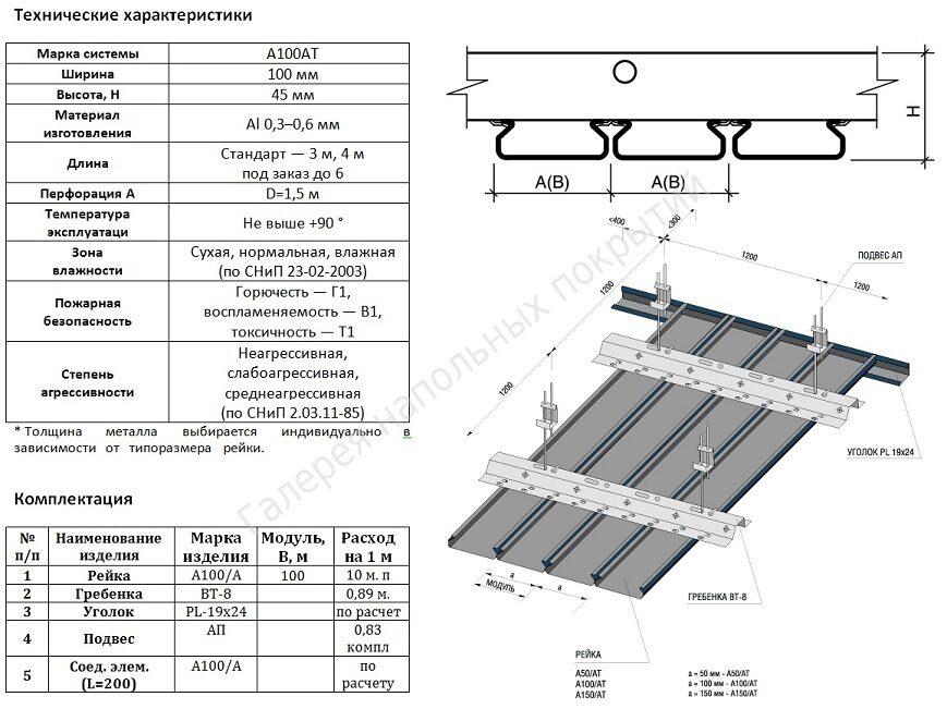 Потолки реечные подвесные из алюминиевых профилей характеристики